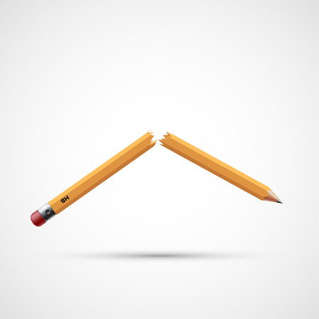 Icon broken pencil. Stress and the failure. Stock vector illustration.