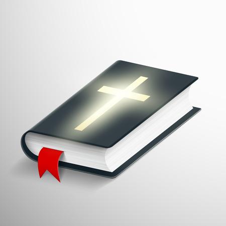 baptist: Holy Bible. Symbol of religion. Stock vector realistic illustration.
