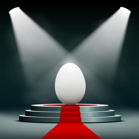 Easter egg on the pedestal. Stock vector illustration.