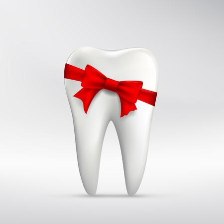 tartar: Human tooth with red ribbon. Stock vector illustration. Illustration