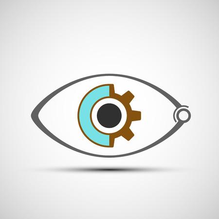 human eye: Icon human mechanical eye. Stock vector illustration.