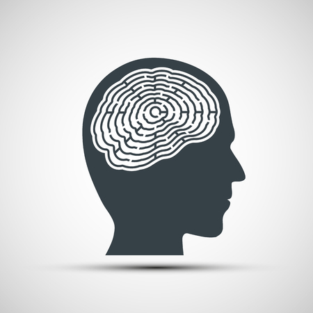 secretive: Human head with a labyrinth. Stock vector illustration.
