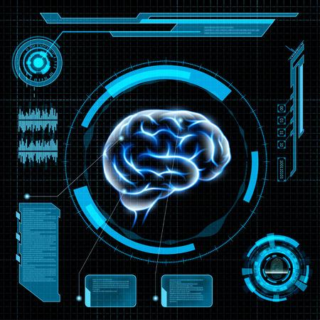 Al escanear el cerebro humano. HUD interfaz futurista. Ilustración vectorial material.