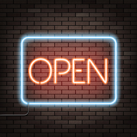 open type font: Neon sign with the word open on a brick wall. Stock vector illustration.