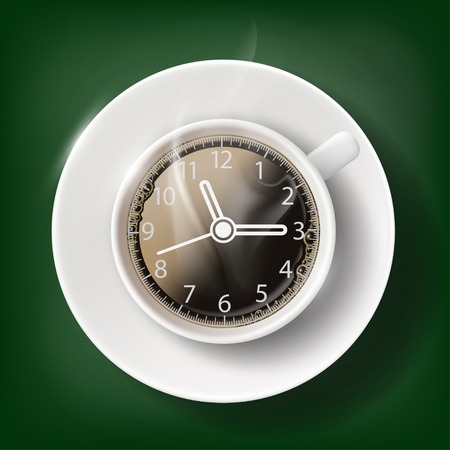 coffee breaks: Cup of coffee with a clock face. Coffee break. Stock vector illustration.
