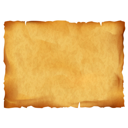 Old parchment isolated on white background. Stock vector illustration.