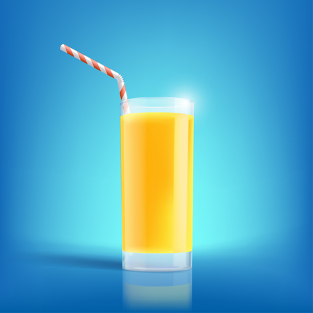 squeezed: Glass of freshly squeezed orange juice. Drink with vitamins. Stock vector illustration. Illustration