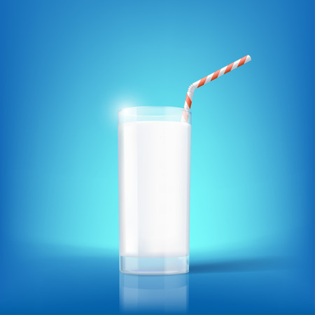 magnesium: Glass of milk and straw. Dairy product with vitamins. Stock vector illustration. Illustration