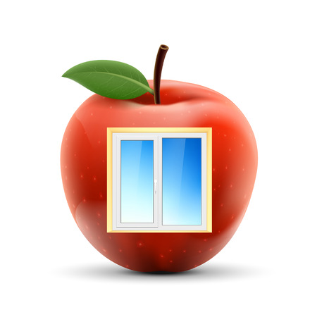 plastic window: White plastic window in a red apple. Isolated on white background. Stock vector illustration. Illustration