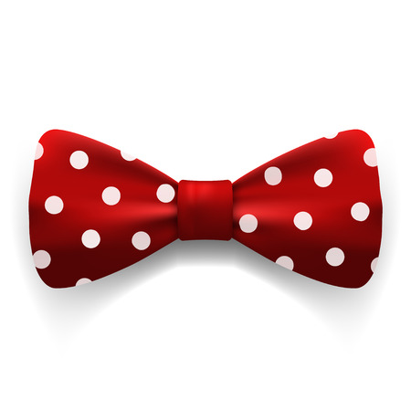 Red polka dot bow tie isolated on white background. Clothing accessories. Stock vector illustration.