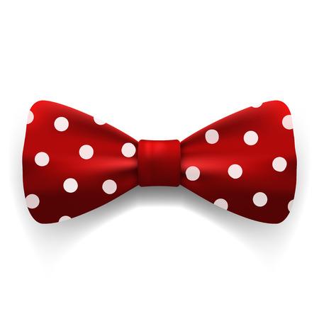 Rouge à pois noeud papillon isolé sur fond blanc. Vêtements & Accessoires. Stock illustration vectorielle.