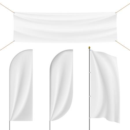 winder: Set of realistic banner, flag, flagpole, Flagstaff isolated on white background. Stock vector illustration. Illustration