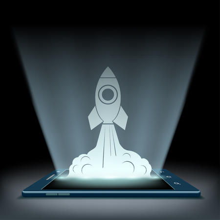 Rocket takes off from the screen of the tablet. Mobile connection. High speed Internet. Stock vector illustration.
