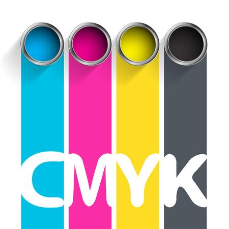 페인트 CMYK의 버킷. 인쇄 산업의 색상. 재고 벡터 일러스트 레이 션. 일러스트