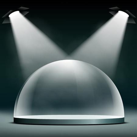 Vidrio iluminada cúpula para presentaciones, exposiciones y protección. Ilustración vectorial material.