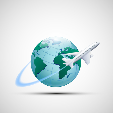 low cost: Icon plane flies around the earth planet. Business travel. Stock vector illustration.