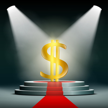 searchlights: Currency dollar on a pedestal, illuminated by searchlights. Profit in business. Gold and foreign exchange reserve. Stock vector illustration.