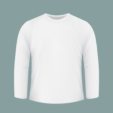 t shirt printing: Template white shirt with long sleeves. Design for printing on fabric. Stock vector illustration.