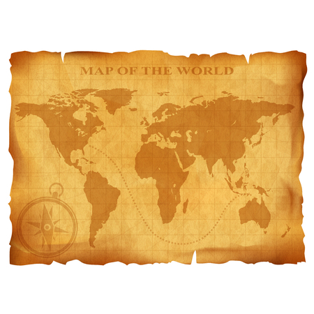 the map of the world: Old vintage world map. Ancient manuscript. Grunge paper texture. Stock vector illustration.