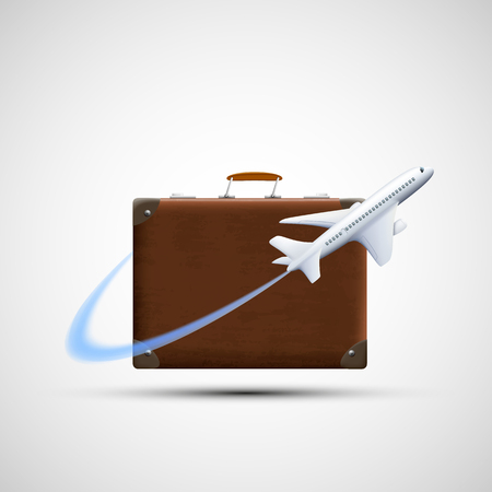 trip: Plane flies round suitcase. Cargo delivery. Icon travel. Isolated on white background. Stock vector illustration.