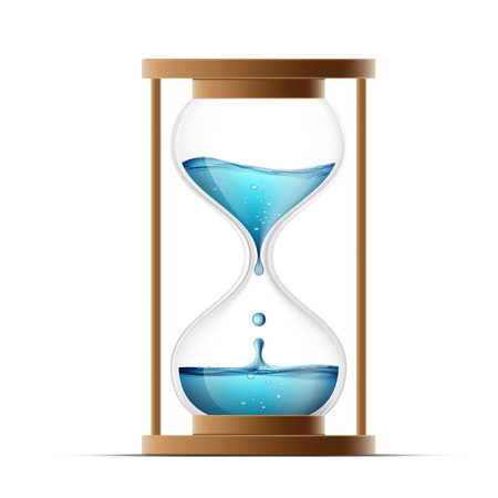 hour glass: Hourglass with water. Water drips into the watch. Countdown. Isolated on white background. Stock vector illustration.