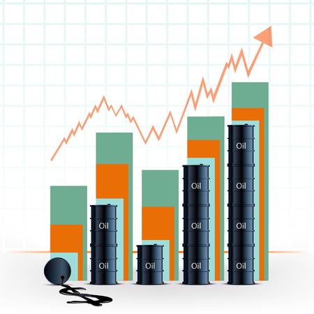 shareholding: Graph of growth the cost of a barrel of oil. Statistics Stock Exchange. Stock vector illustration. Illustration