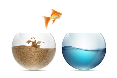 Gouden vissen springen uit het aquarium. Aquaria met zand en water. Stock vector illustratie. Vector Illustratie