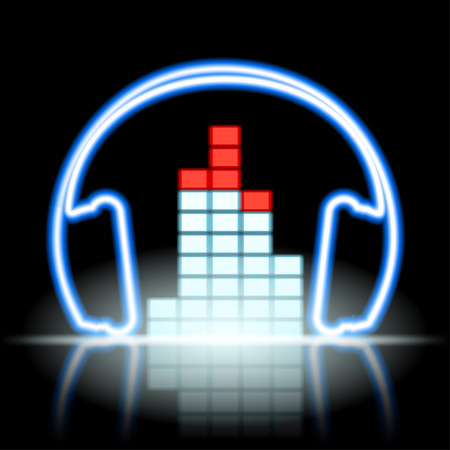 headset: Neon icon musical equalizer and headphones. Stock vector illustration.