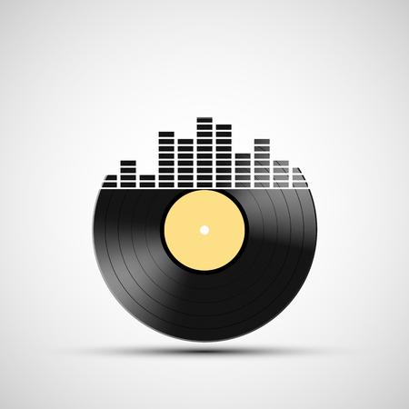 音のイコライザーのアイコン ビニール レコード。株式ベクトル イラスト。