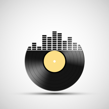 tuner: Icon vinyl record with a sound equalizer. Stock vector illustration.