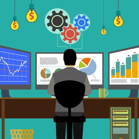 monitor de computadora: gráficos financieros y gráficos. Monitor de la computadora, el lugar de trabajo corredor. Bolsa. Ganar dinero. Ilustración vectorial material.