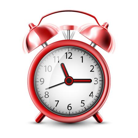 alarm clock: Realistic Icon ringing alarm clock. Isolated on white background. Stock vector illustration.