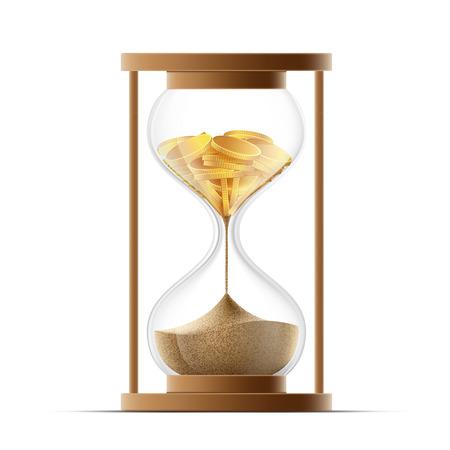 Reloj de arena con arena y monedas de oro. La quiebra y la devaluación. Ilustración vectorial material. Ilustración de vector