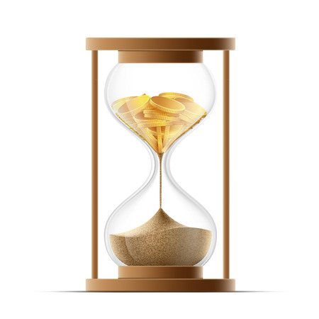 reloj de arena: Reloj de arena con arena y monedas de oro. La quiebra y la devaluaci�n. Ilustraci�n vectorial material.