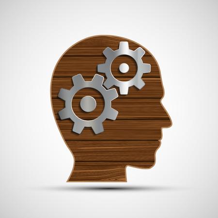 Icono engranajes de metal en la cabeza humana. Símbolo de la mente. Cabeza de un tablones de madera.