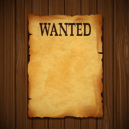 mercenary: Old vintage grunge western poster with the inscription is wanted. On a wooden wall.