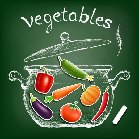 broth: Vegetables cooked in a pan. Kitchen equipment is drawn chalk on a blackboard. Diet and healthy nutrition.
