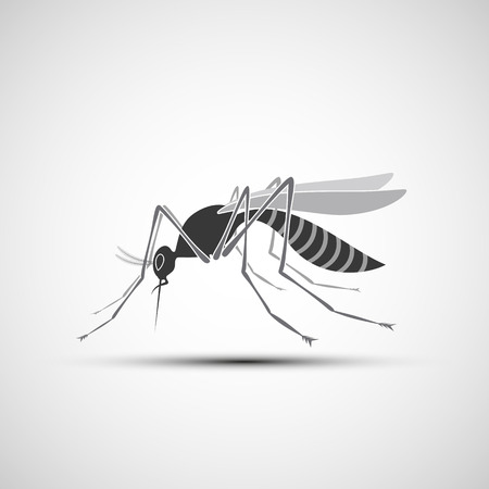 white nile: Mosquito Icon with stinger isolated on white background. Zika virus. West Nile fever.