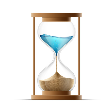 Icon hourglass with the sand and water. Global warming and arid climate.