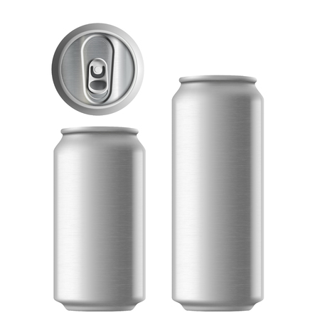 ml: Set of metal aluminum cans 330 and 500 ml. Metal texture. Isolated on white background. Illustration