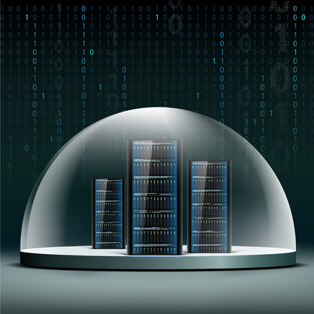 hacker: Network servers under a glass dome. Security database from hacker attacks.