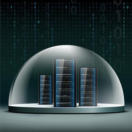 Netzwerk-Server unter einer Glaskuppel. Sicherheitsdatenbanken von Hacker-Attacken.