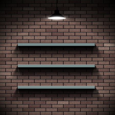 storage facility: Empty shelves on a background of a brick wall. Illuminated by lamp.