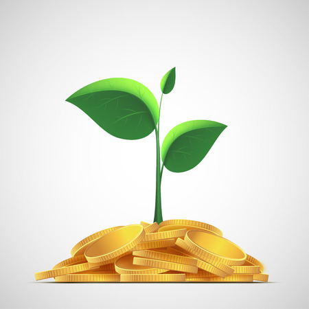 pile of money: Plant with leaves on a pile of gold coins. Money deposit to the bank.