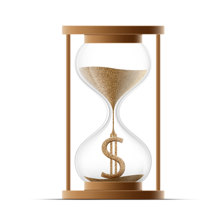 Hourglass with dollar sign. Costs money. Icon isolated on white background.