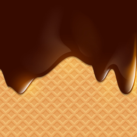 dark chocolate: Dark chocolate flows on wafer. Dessert background. Illustration