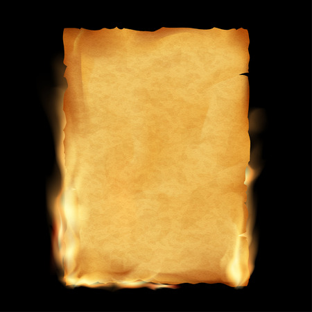 torn paper background: Old parchment is burning. Vintage grunge texture. Stock vector illustration.
