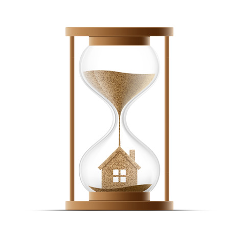 subprime: Hourglass with the house. Construction of real estate. Property insurance. Stock vector illustration.