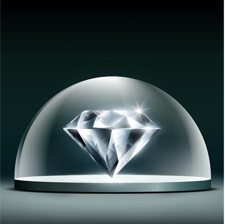 보석 다이아몬드 커버 유리 돔입니다. 주식 벡터 일러스트 레이 션. 일러스트