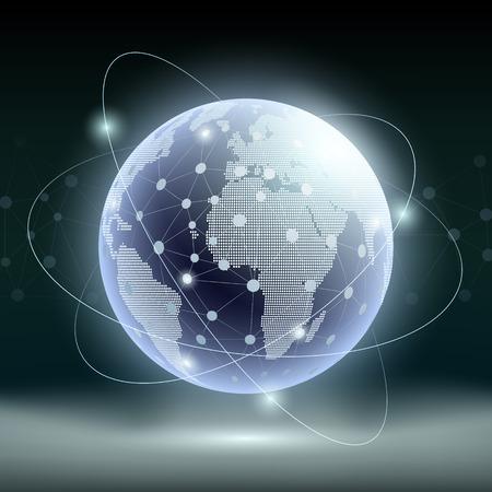 Futuristische Technologie Hintergrund. Planet Erde und Satelliten-Kommunikation. Digital-TV und Internet. Vektor-Illustration.